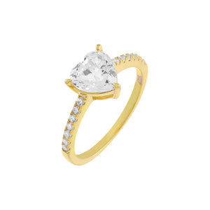 Gold / 5 Pavé Heart Stone Ring - Adina's Jewels