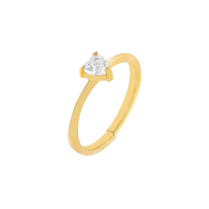 Gold CZ Mini Heart Stone Ring - Adina's Jewels