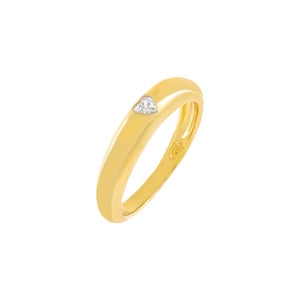 Gold / 6 CZ Heart Dome Ring - Adina's Jewels