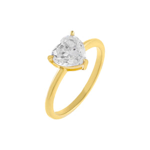 Gold / 6 CZ Heart Stone Ring - Adina's Jewels