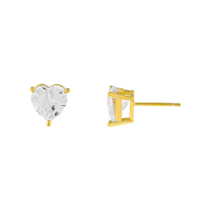 Gold CZ Heart Stone Stud Earring - Adina's Jewels