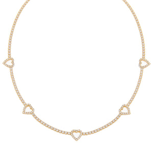 Gold CZ Open Heart Tennis Choker - Adina's Jewels