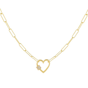 Gold Pavé Heart Toggle Oval Link Necklace - Adina's Jewels