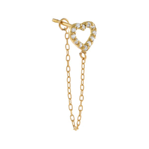 14K Gold / Single CZ Open Heart Chain Stud Earring 14K - Adina's Jewels