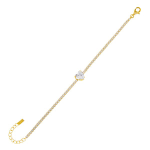 Gold CZ Heart Stone Tennis Bracelet - Adina's Jewels