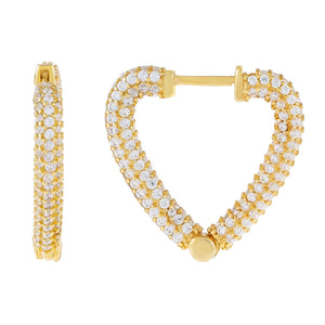 Gold Pavé Large Open Heart Huggie Earring - Adina's Jewels