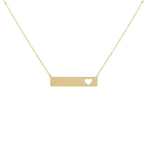 14K Gold Engraved Open Heart Bar Necklace 14K - Adina's Jewels