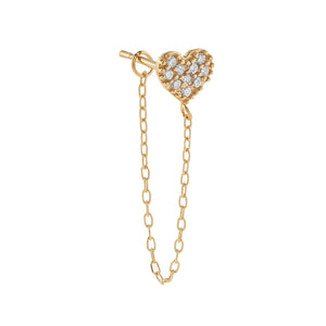 14K Gold / Single Pavé Heart Chain Stud Earring 14K - Adina's Jewels