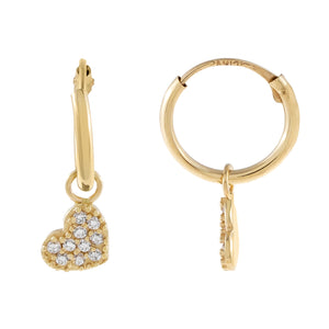 14K Gold CZ Heart Hoop Earring 14K - Adina's Jewels