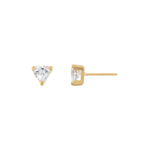 14K Gold CZ Heart Stud Earring 14K - Adina's Jewels
