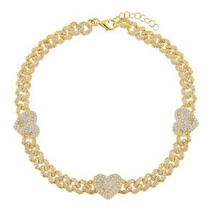 Gold Pavé Heart Chain Link Anklet - Adina's Jewels