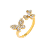 Gold / 7 Pavé Butterfly X Clover Ring - Adina's Jewels