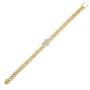 Gold Pavé Heart Chain Link Bracelet - Adina's Jewels