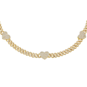 Gold Pavé Heart Chain Link Choker - Adina's Jewels