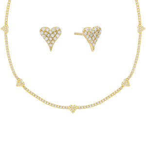 Gold Pavé Heart Tennis Valentine's Combo Set - Adina's Jewels