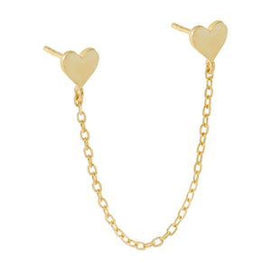 Gold Engraved Double Heart Chain Stud Earring - Adina's Jewels