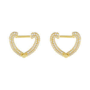Gold Mini Pavé Open Heart Huggie Earring - Adina's Jewels