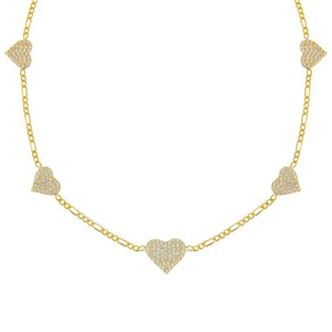 Gold Pavé Multi Heart Figaro Choker - Adina's Jewels