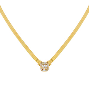 14K Gold CZ Illusion Baguette Herringbone Necklace 14K - Adina's Jewels