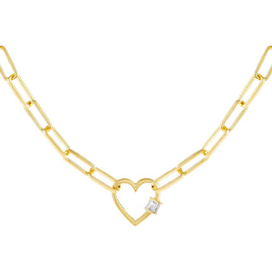 Gold CZ Baguette Heart Toggle Link Necklace - Adina's Jewels