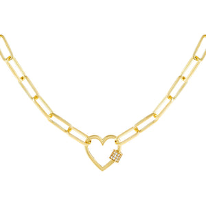 Gold Pavé Heart Toggle Link Necklace - Adina's Jewels