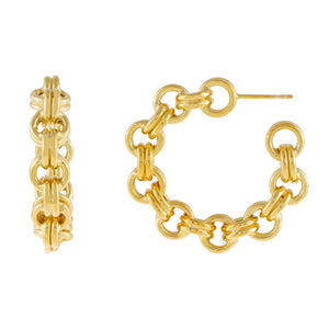 Gold Chunky Rolo Chain Hoop Earring - Adina's Jewels
