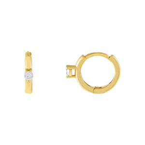 Gold CZ Solitaire Huggie Earring - Adina's Jewels