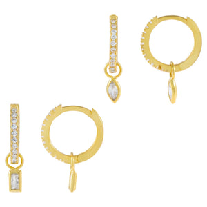 Gold CZ Teardrop X Baguette Huggie Earring Combo Set - Adina's Jewels