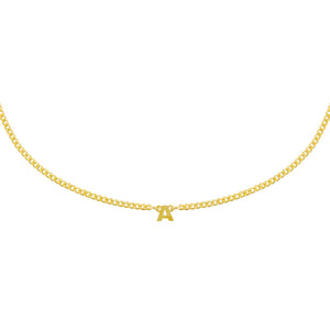 Gold Solid Mini Initial Necklace - Adina's Jewels