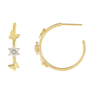 Gold CZ Flower X Butterfly Hoop Earring - Adina's Jewels