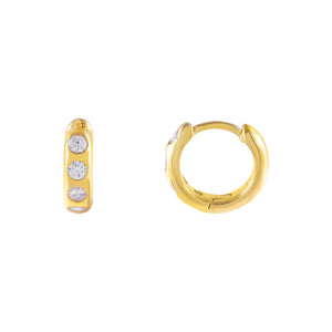 Gold CZ Mini Multi Stone Huggie Earring - Adina's Jewels