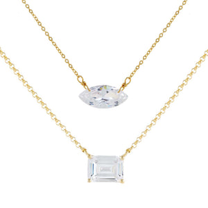 Gold Baguette X Marquise Necklace Combo Set - Adina's Jewels