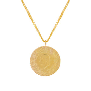 14K Gold Jumbo Vintage Coin Necklace 14K - Adina's Jewels