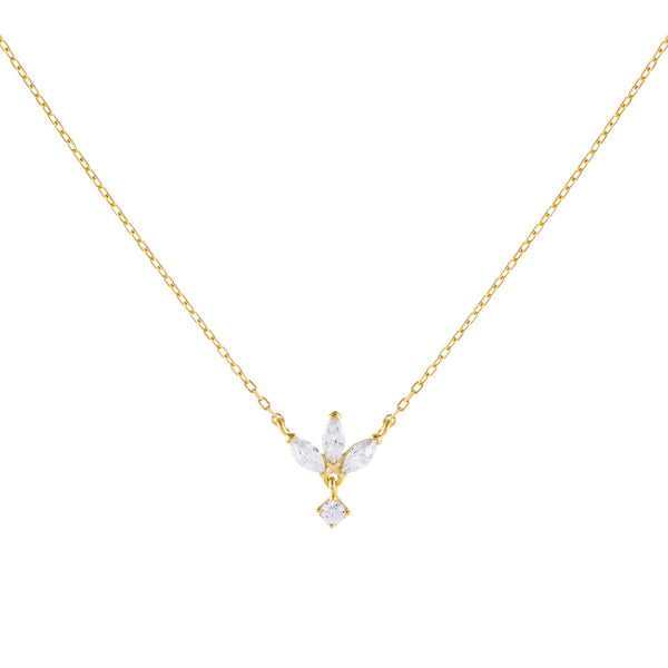 Gold CZ Marquise Drop Necklace - Adina's Jewels