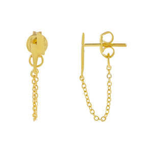 Gold Tiny Lightning Chain Stud Earring - Adina's Jewels
