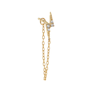 14K Gold / Single CZ Lightning Bolt Chain Stud Earring 14K - Adina's Jewels