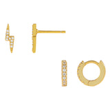 Gold CZ Lightning Earring Combo Set - Adina's Jewels