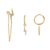 14K Gold CZ Lightning Bolt Earring Combo Set 14K - Adina's Jewels