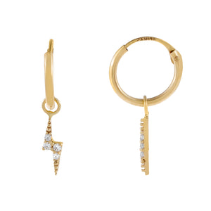 14K Gold CZ Lightning Bolt Hoop Earring 14K - Adina's Jewels