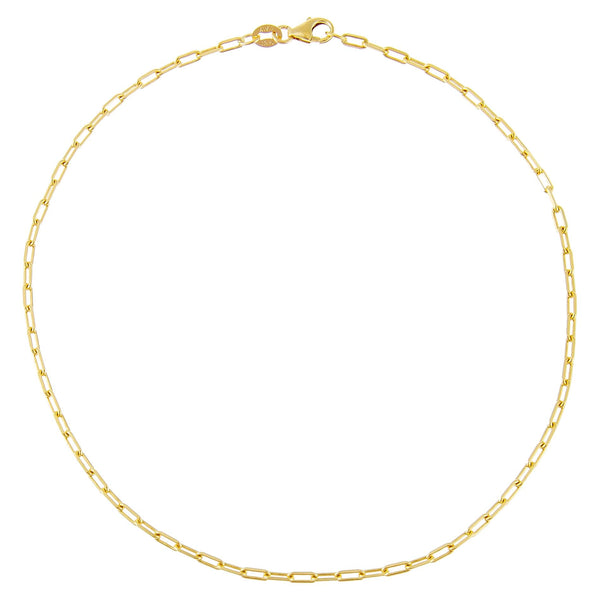 14K Gold Thin Link Anklet 14K - Adina's Jewels
