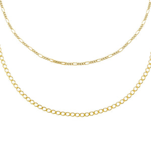 Gold Baby Figaro X Cuban Anklet Combo Set - Adina's Jewels