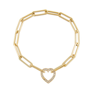 14K Gold Diamond Heart Clicker Paperclip Bracelet 14K - Adina's Jewels