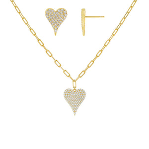 Gold Pavé Heart Link Combo Set - Adina's Jewels