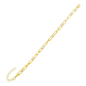 Gold CZ Colored Oval Link Bracelet - Adina's Jewels
