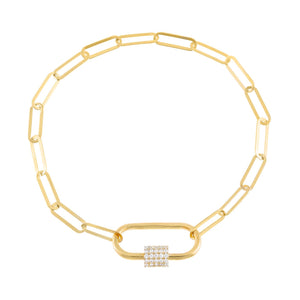Gold Pavé Toggle Link Bracelet - Adina's Jewels