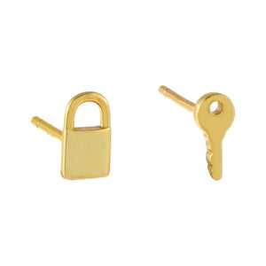 Gold Mini Key X Lock Stud Earring - Adina's Jewels
