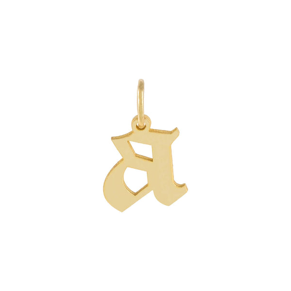 Gold / A Lowercase Gothic Initial Necklace Charm - Adina's Jewels