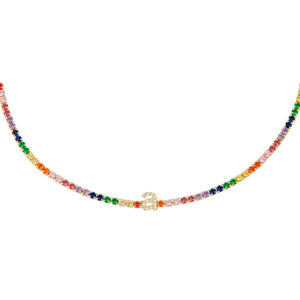 Multi-Color Lowercase Initial Rainbow Tennis Choker - Adina's Jewels