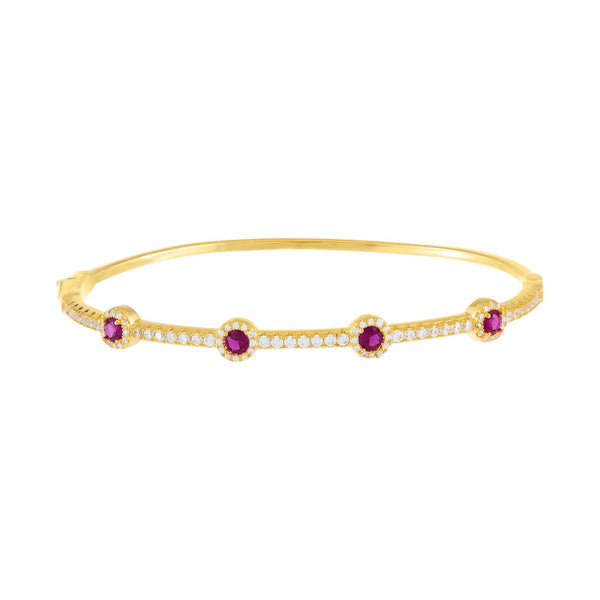 Magenta CZ Colored Solitaire Bangle - Adina's Jewels