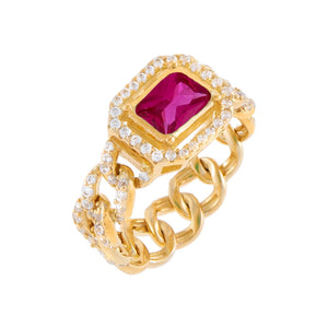 Magenta / 7 CZ Colored Cuban Chain Ring - Adina's Jewels